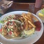 Grouper Fish Tacos with pico de gallo & crispy fries