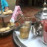 Mint tea and pastries at check in