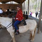 Here is V on her horse (Seabiscuit).  A little slow and not so willing to cooperate sometimes.