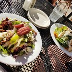 our salads! poached pear salad and Caesar salad