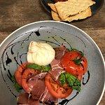 burrata w prosciutto, truss tomato, basil and sticky balsamic