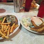 Mushroom & Swiss burger; Chicken fried steak