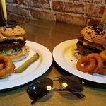 The Double Burger with onion rings.