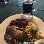 Sauerbraten, red cabbage and spaetzel