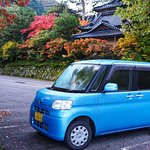 Just love the kawaii Japanese car set against the early autumn colours at a local temple.