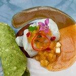 Deep sea fish, parihuela juice with mole season, green tortillas to make fish tacos