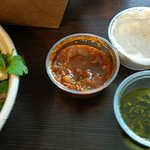 Dipping sauces: Spicy Red, White, and Chimichurri.