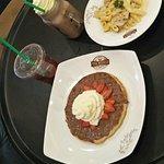 Chicken Pasta, Chocolate waffles , Chocolate milkshake, Strawberry Iced Tea
