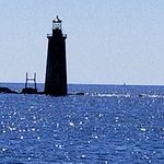 Ledge Lighthouse in front of S Portland Head Lighthouse