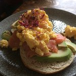 Salmon Bagel with scrambled egg and avocado