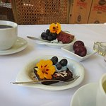 Chocolate brownie and raw food rasberry cake