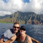 Me and hubby with the Napali Coast in the background.