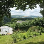 View across the polytunnel and valley from the top corner of the forest garden