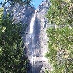 Foto della Upper Yosemite Fall fatta dalla piscina dell'hotel