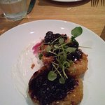FRIED GREEM TOMATOES WITH BLUEBERRY COMPOTE