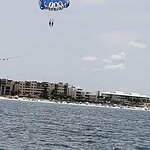 Beautiful view of Siesta Key beach from the boat and in flight.