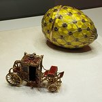 Faberge Coronation Egg and surprise carriage. At the Faberge Museum.
