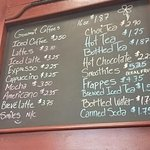 Coffee and Drinks menu