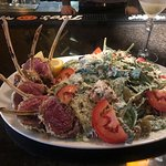 Rack of lamb, martini and customized salad. Delicious!