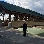Covered pedestrian bridge over the Kicking Horse River