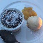 lava cake, ice cream and pineapple