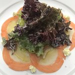 salmon and scallop tartar with salad