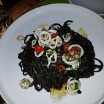 Squid ink pasta was different and delicious!!