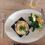 Fish pie with sugar snap peas and salad