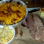Brisket, Disco fries, Macaroni and cheese with cornbread