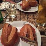 La Madunina panini with mozerella, black olive pate, prosciutto and tomato