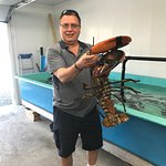 We held a 15 pound lobster at Waterside Fish Market. (some people were a little nervous...)