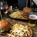Burgers by the fire at The Garden Tap