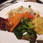 Perfectly seasoned veggies and amazing rice that were part of the Christmas buffet