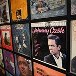 A wall of Johnny Cash albums.