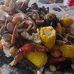 Freshly caught crab and prawns!