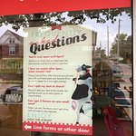 This poster tries to answer your questions before you enter the shop