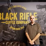Bill Lewis of Fort Lauderdale, Florida, visiting the Black Rifle Coffee Shop in Savannah, Georgi