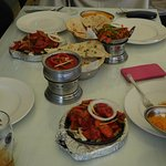 Madras, Paneer Jalfrezi, Speciality chicken sizzler, naans, rice