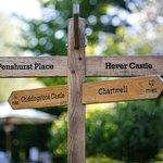 Sign post in garden.