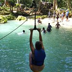 The rope swing jump at Blue Hole!
