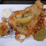 Fish & chips with pea puree, very tasty