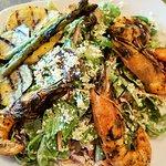 Roasted veggies salad with shrimp