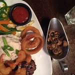 Steak and Shrimp Special with a side of mushrooms