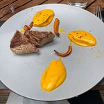 Filet mignon with carrot puree