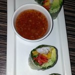 shrimp spring roll with spicy dipping sauce
