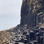 Sheer basalt cliffs at Staffa leading to Fingal's Cave