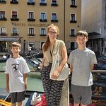 Marie-Therese, our guide in Venice, with our sons. Waiting for the gondola ride!
