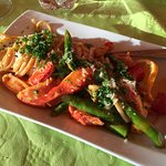 Lobster pasta with fresh asparagus