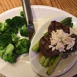"My ""diet special!"" Steamed broccoli, and filet medallions with crabmeat over asparagus, perfect."