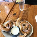AMAZING BBQ BACON BURGER AND PRETZELS AND CHEESE DIP